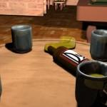 Mesa de billar con vasos y cervezas