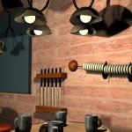 Mesa de billar, palos y contador para llevar el juego